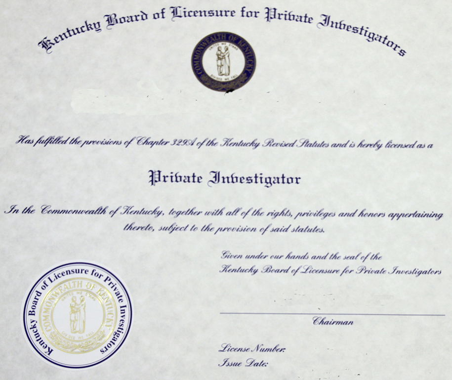 Kentucky private investigator license example